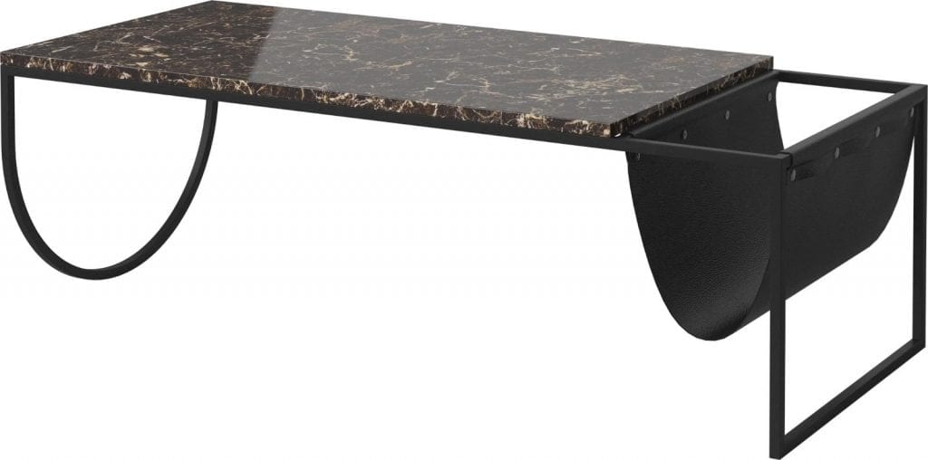 Piero dohányzóasztal - Barna márvány, barna bőr-1634