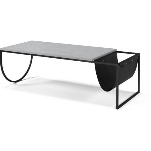 Piero Coffee table – Grey/White marble, black leather-1642