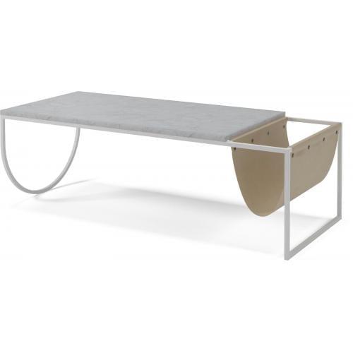 Piero dohányzóasztal – Szürke/fehér márvány, barna bőr-1638