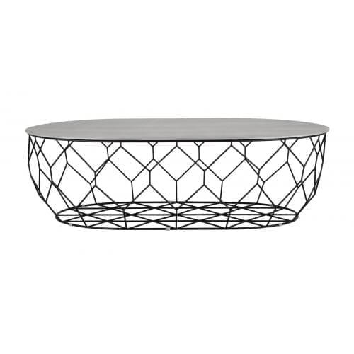 Comb ellipse dohányzóasztal - Szürke lakkozott tölgy, fekete-0