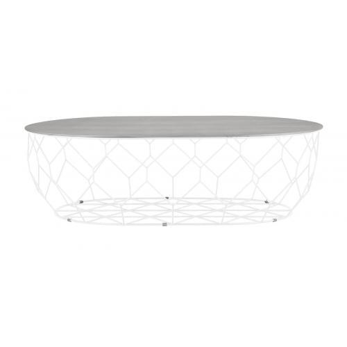 Comb ellipse dohányzóasztal - Szürke lakkozott tölgy, fehér-0