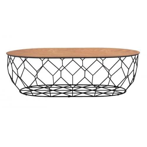 Comb ellipse dohányzóasztal - Lakkozott diófa, fekete-0