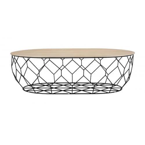 Comb ellipse dohányzóasztal - Fehér lakkozott tölgy, fekete-0