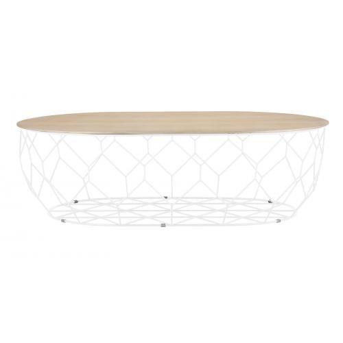Comb ellipse dohányzóasztal - Világos lakkozott tölgy, fehér-0