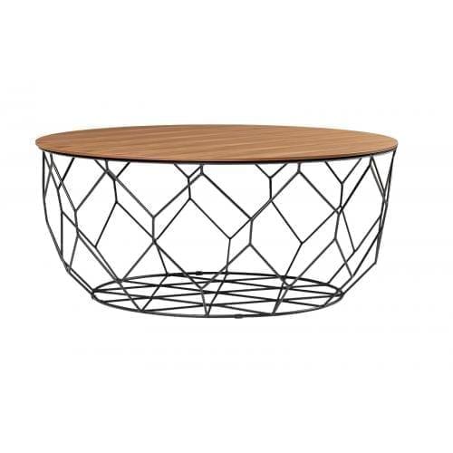 Comb round dohányzóasztal - Lakkozott diófa, fekete-0