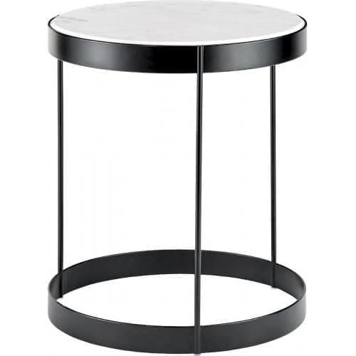 Drum dohányzóasztal - Fehér márvány, Fekete keret Ø40-0