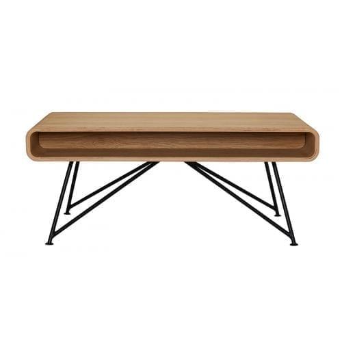 Mariposa coffee table - Oiled oak, Black leg-0