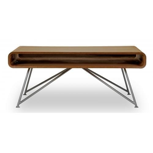 Mariposa coffee table - Oiled walnut top, Grey leg-0