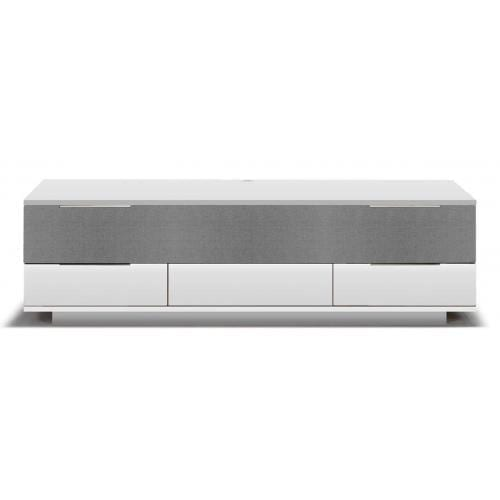 Opus2 Media furniture - MDF, White lacquered/grey fabric-0