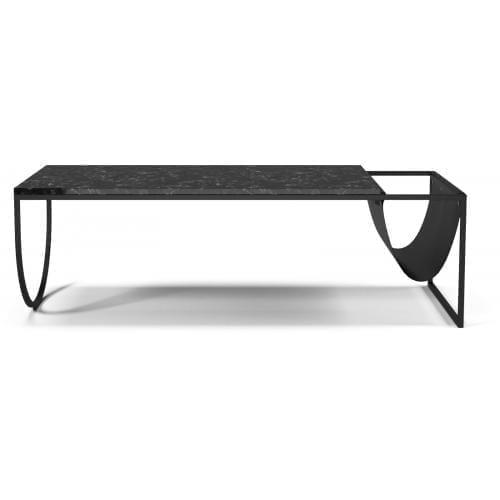Piero dohányzóasztal - Fekete márvány, fekete bőr-0