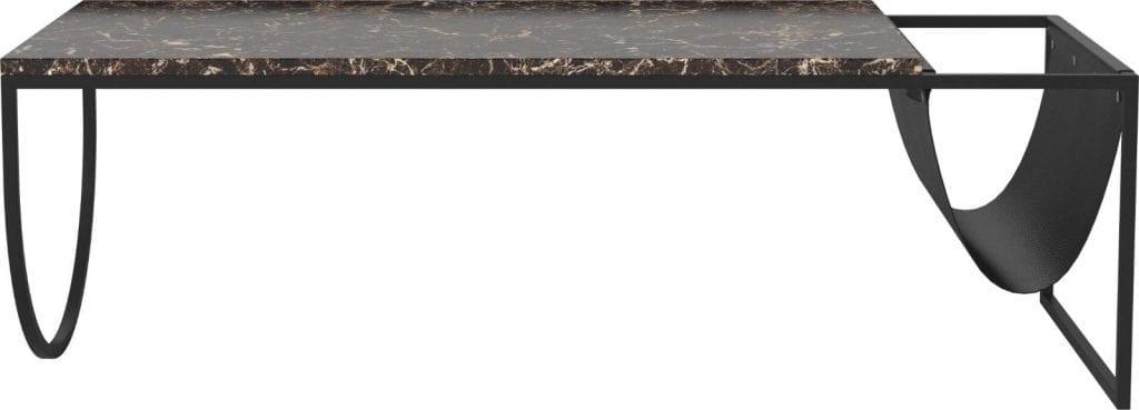 Piero dohányzóasztal - Barna márvány, barna bőr-0