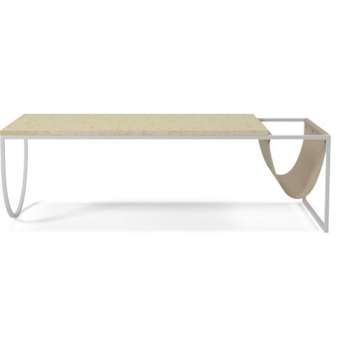 Piero Coffee table - Golden marble, brown leather-0