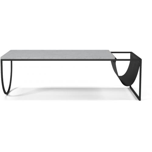 Piero Coffee table - Grey/White marble, black leather-0