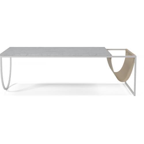 Piero dohányzóasztal - Szürke/fehér márvány, barna bőr-0