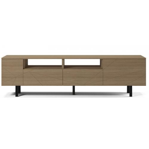 Save Media Large - Matt lacquered oak veneer, Top in matt lacquered oak veneer, Black legs-0