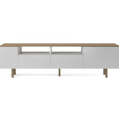 Save Media Large - White lacquered, Top in matt lacquered oak veneer, Oak legs-0