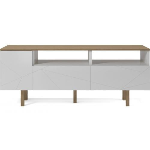 Save Media Medium - White lacquered, Top in matt lacquered oak veneer, Oak legs-0