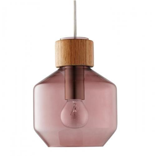 Vetro széles függőlámpa - Világos tölgy felsőrész/Rózsaszín üveg-0