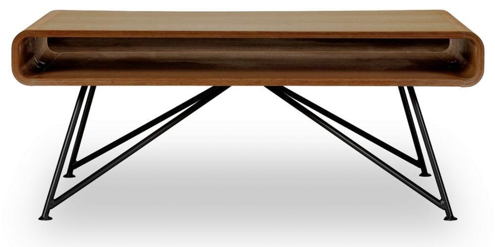 Mariposa dohányzóasztal - Diófa felsőrész, fekete lábak-0