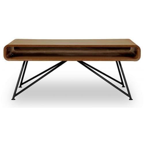 Mariposa coffee table - Oiled walnut top, Black leg-0