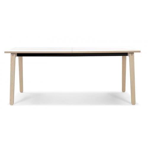 Filur étkezőasztal kiegészítő lappal - Fehér laminált, fehér lakkozott tölgy-0