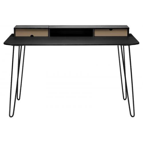 i-Work íróasztal - Fekete tölgy/Világosbarna/Fekete rozsdamentes acél-0
