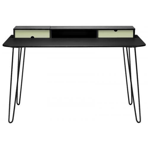 i-Work íróasztal - Fekete tölgy/Világoszöld/Fekete rozsdamentes acél-0