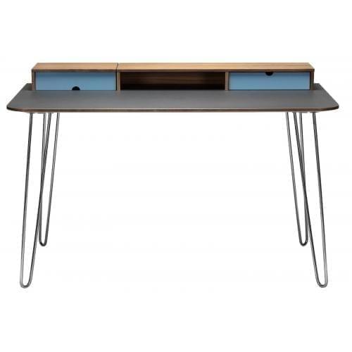 i-Work íróasztal - Diófa/Világoskék/Matt króm-0