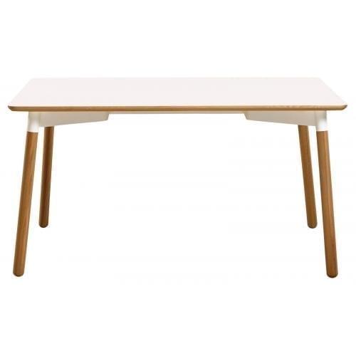 Tabola étkezőasztal 95x137,5 - Fehér laminált/fehér lakkozott acél-0