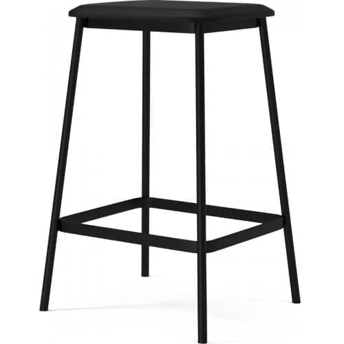 Facet low barstool - Black leather-0