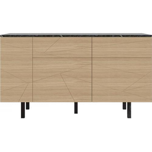 SAVE Sideboard marble – medium – oak veneer/black marble-6663