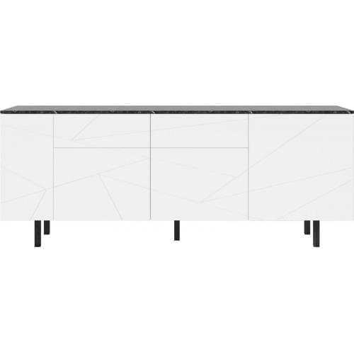 SAVE Komód márványlappal - nagy - lakkozott fehér/fekete márvány-0