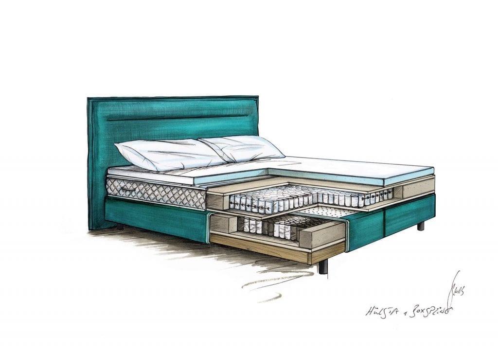 Hülsta BOXSPRING Bed C - Sea green-7453