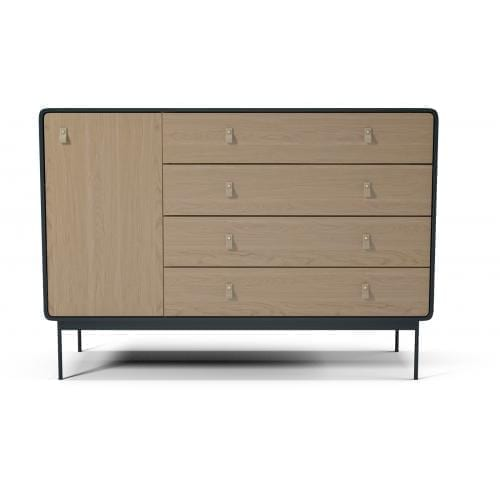 Amber dresser with 4 drawers and door - Oak - Antracit frame and legs-12824