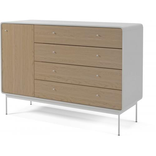 Amber dresser with 4 drawers and door – Oak – White frame and steel legs-12811