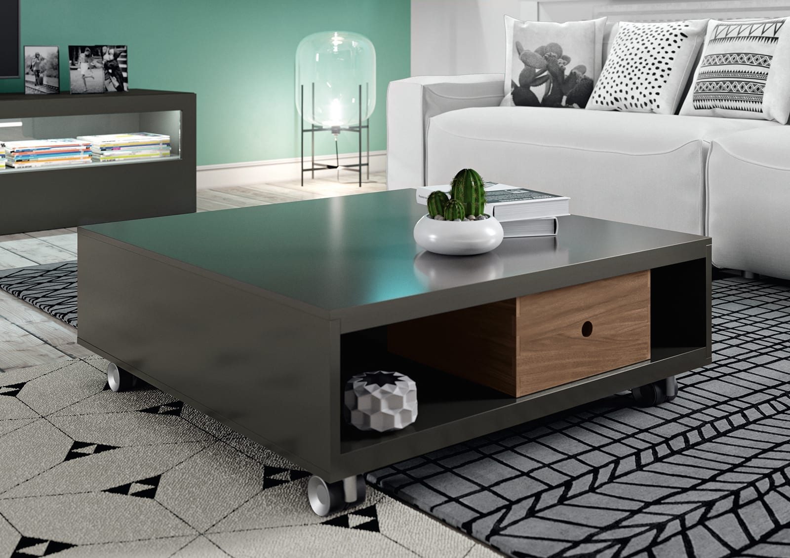 h lsta ct20 coffee table with castors. Black Bedroom Furniture Sets. Home Design Ideas