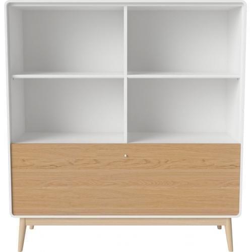 AMBER szekrény - Fehér keret - Tölgy lábak - Tölgy ajtó-15415