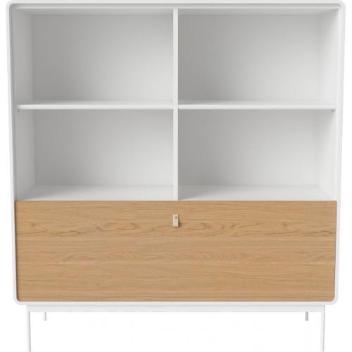 AMBER szekrény - Fehér keret - Acél lábak - Tölgy ajtó-0
