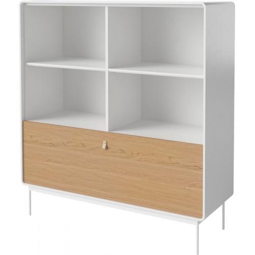 AMBER szekrény – Fehér keret – Acél lábak – Tölgy ajtó-15428