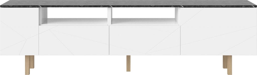 Save Media Marble Large - Black marble - White lacquered - Oak legs-0