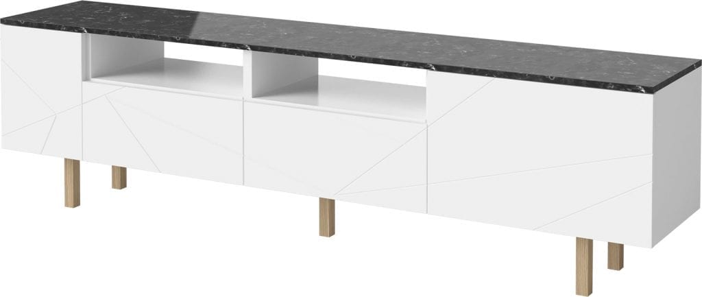 Save Media Marble Large - Black marble - White lacquered - Oak legs-15541