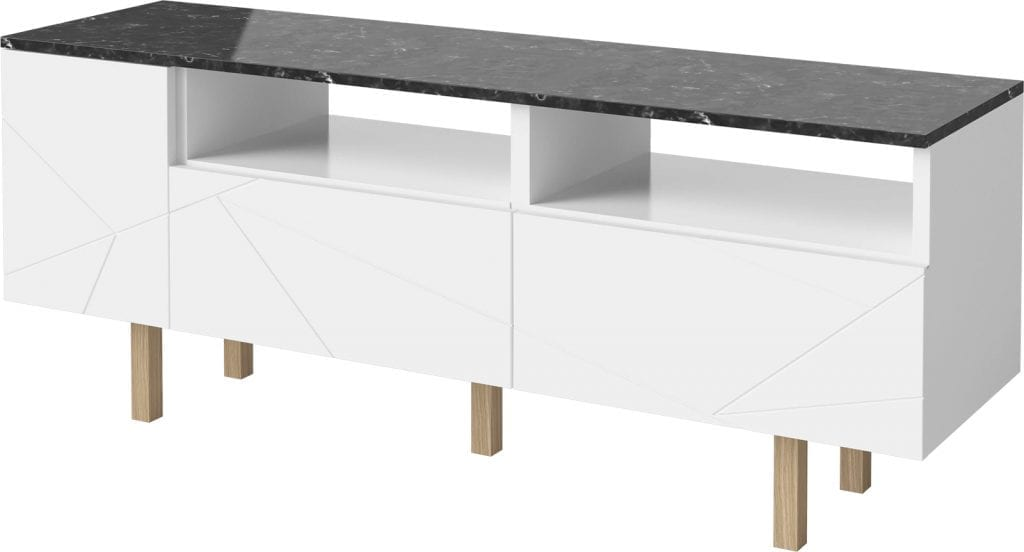 Save Media Marble Medium - Black marble - White lacquered - Oak legs-15491