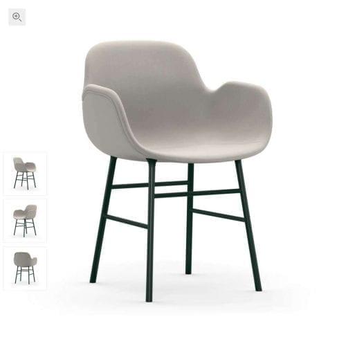 FORM Kárpitozott karfás szék - acél/króm lábakkal-0