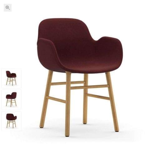 FORM Kárpitozott karfás szék - fa lábakkal-0