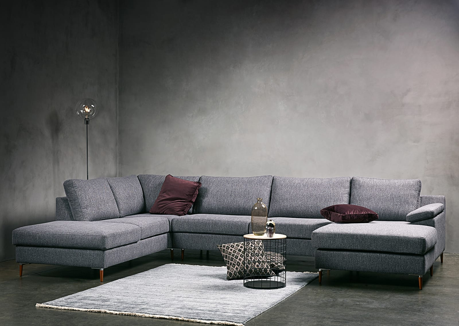 FRISCO 5 seater corner sofa with chaise longue and open end