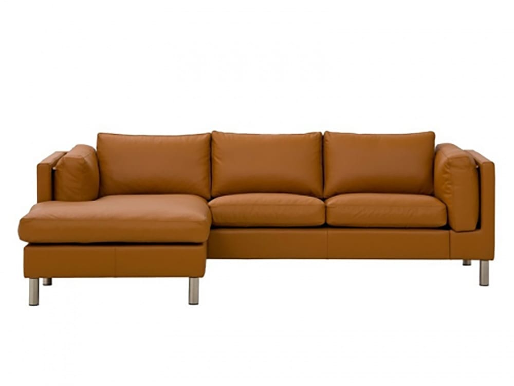 FRISCO Leather sofa bed with chaise longue