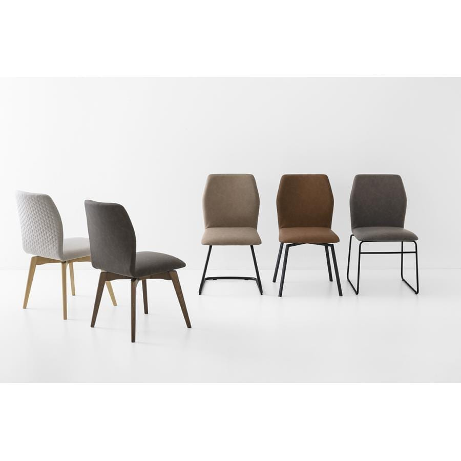 Hexa Upholstered Dining Chair Wooden Legs