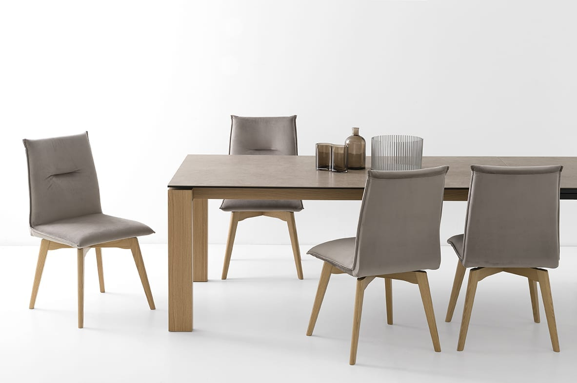 Upholstered Dining Chair Wooden Legs