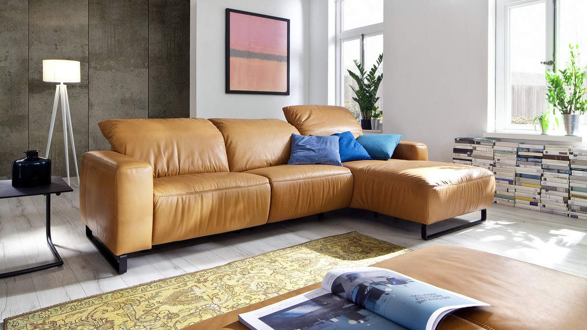 Empire 3 Seater Leather Sofa With Chaise Longue