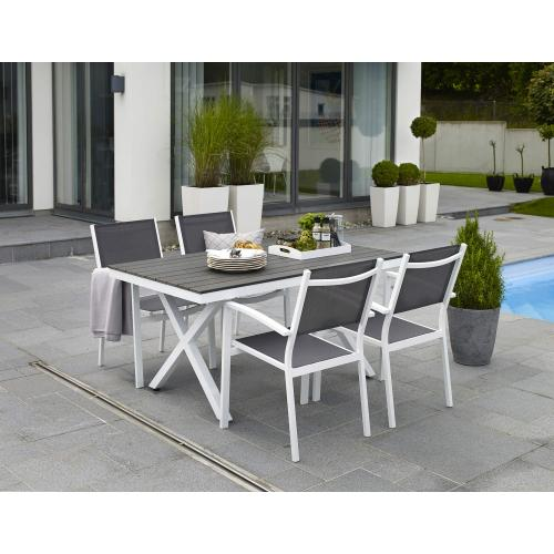 brafab leone outsoor dining table and chairs white/kültéri étkezőasztal és székek fehér